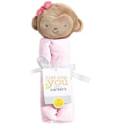 Carter's Just One You Baby Girl New Pink Monkey Rattle Security Blanket Nunu