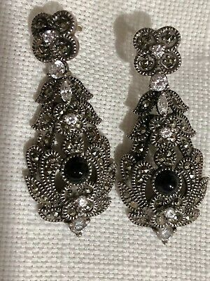 Judith Jack Gorgeous Signed Vintage Marcasite Earrings With Onyx And Cz