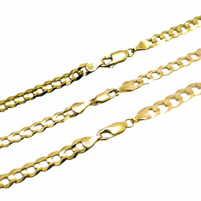 """Solid 14k Yellow Gold 4MM-7MM Curb Chain Cuban Link Necklace Size 16""""-30"""""""