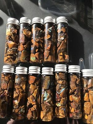 5($18 each) large bottles   of Boulder opal  chips with brilliant colours