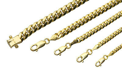 """Solid 10K Yellow Gold Miami Cuban link Necklace Chain 2mm-6mm Sz 20""""-36"""""""