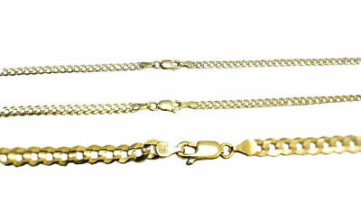 """Solid 14k Yellow Gold 2.5MM-4MM Curb Chain Cuban Link Necklace 16""""-30"""""""