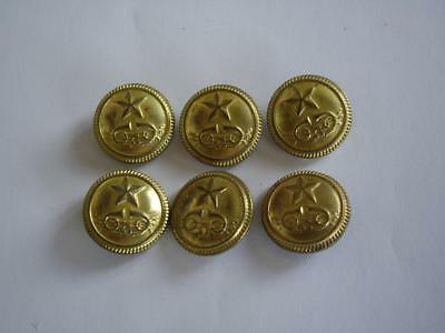 Lot of  6 pcs. Bulgarian Communist Parade Uniform Postboy Post Office Buttons