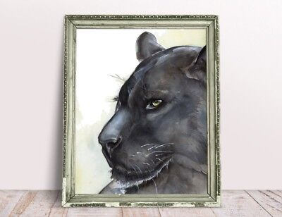 0f30589a8c772 ORIGINAL WATERCOLOR PANTHER painting, big cat drawing, black panther, wall  art