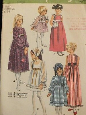 Fab VTG 70 SIMPLICITY 9133 Girls Dress in 3 lengths & Bonnet PATTERN 6/25B