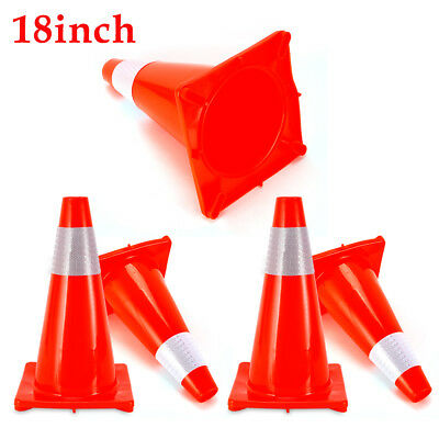 5 Pack 18 inch Safety Traffic Cones Fluorescent Orange Reflective Collar