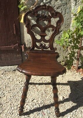 Wood Hand Carved Alpine Chalet Tyrolean Antique Chair Wood French Swiss Austrian