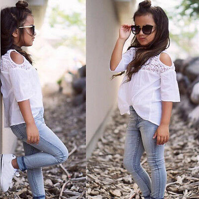 UK Toddler Kid Girl Outfit Lace Top T-shirt+Denim Jeans Pants Winter Clothes Set