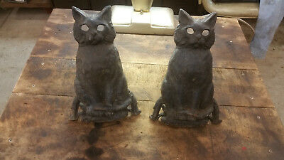 Vintage Pair of Cast Iron Cat Fireplace Andirons Black Glass Eyes