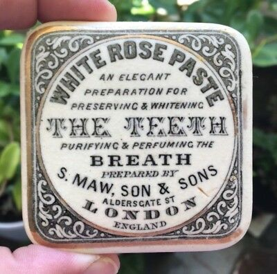 ANTIQUE POT LID WHITE ROSE TOOTH PASTE S.MAW SON & SONS LONDON ENGLAND 1890's