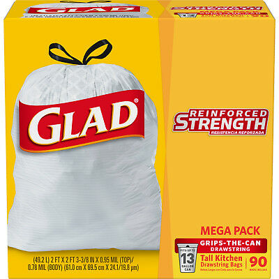 HOT! SALE! Glad Tall Kitchen Drawstring Trash Bag - 13 Gallon, 90 Count