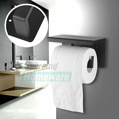 Stainless Steel Toilet Paper Roll Holder Tissue Black Wall Cover Storage Hook