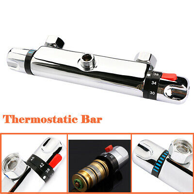 """Chrome Thermostatic Bar Mixer Shower Valve Tap Bottom 1/2"""" Outlet For ShowerHose"""