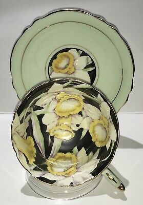 Vintage Double Warrant Paragon Black/Mint Green Daffodil Tea Cup And Saucer