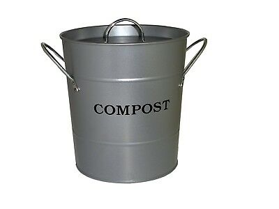 (Silver) - Exaco Trading CPBS 04 Small 2-N-1 Kitchen Compost Bucket, Silver