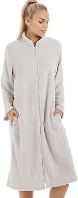 937152cbea Camille Womens Nightwear Soft Fleece Grey Zip Front House Coat Dressing Gown