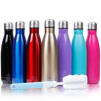 (Red) - Sfee 500ml Double Wall Vacuum Insulated Stainless Steel Water Bottle &