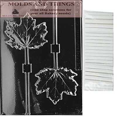 LARGE MAPLE LEAF LOLLY chocolate candy mould with © Moulding Instruction+ 25