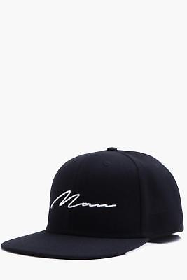 Boohoo Mens MAN Script Embroidered Snap Back in Black size One Size