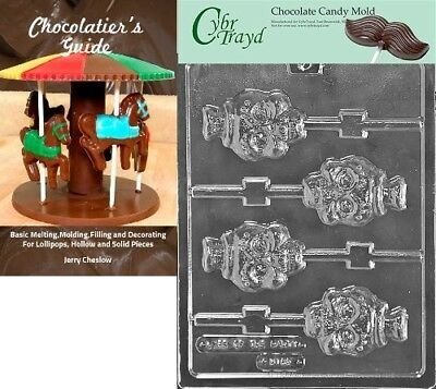 """Cybrtrayd """"Skull Lolly"""" Halloween Chocolate Candy Mould with Chocolatier's Guide"""