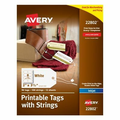 """Avery® Printable Tags With Strings, Rectangle, 2"""" x 3 1/2"""", White, Pack of 96"""