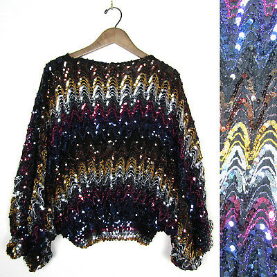 91ad2b9fe02b Vtg 80s SEQUIN ZIG ZAG SHIRT Batwing Sparkly MISS IT or H Disco Top Blouse  1980s
