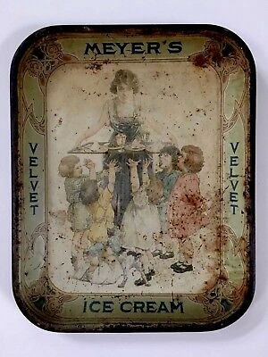 Rare Vintage MEYER'S VELVET ICE CREAM Tin Litho Dairy Parlor Advertising Tray