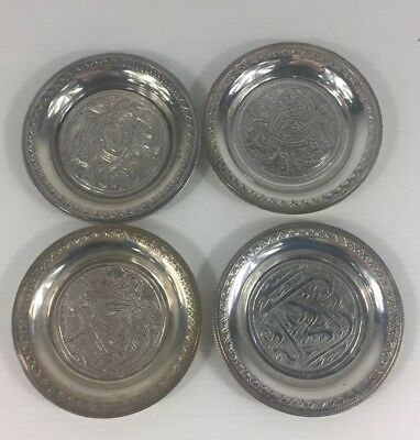 Vintage Set Of Four Solid Silver Egyptian Pin Dishes 26.5g 8cm In Diameter