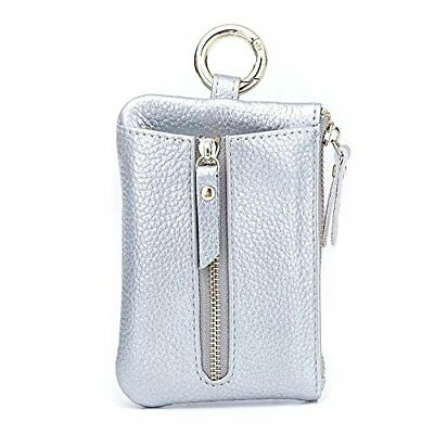 3a29b9fc494d Aladin Womens Leather Key Case  Zipper Coin Purse  Card Holder Wallet Silver