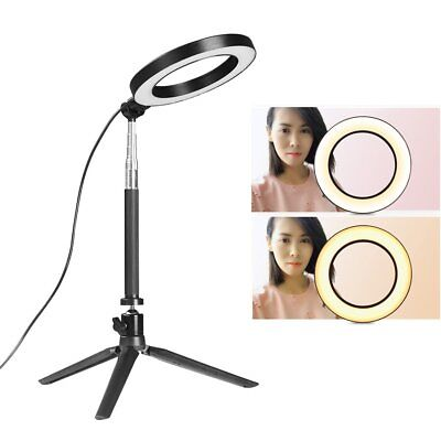 "6"" LED Ring Light with Stand 5500K Dimmable Lighting Kit For Makeup Youtube Live"