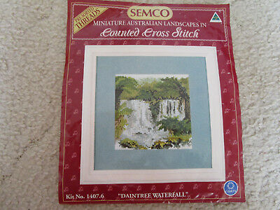 Semco Minature Cross Stitch Kit Of Daintree Waterfall 10.5 X 10.5Cms.