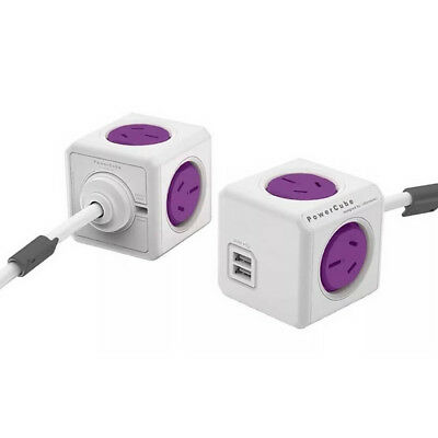 PowerCube Allocacoc 1.5m Extended USB Powerboard 4 Power+2 USB Port 2.1A PURPLE