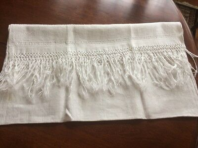 Antique white damask linen bath towel hand knotted fringe, pulled work 20x 42""