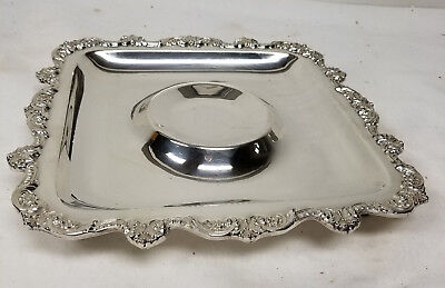 Antique Vintage Sheffield Silver Plate Tray Dish Old English Poole