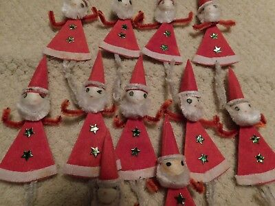 LOT 11 Vintage JAPAN ~ SANTA CLAUS ~ CHENILLE SPUN COTTON CHRISTMAS ~ PICKS