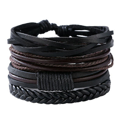 Mens Boys Retro Handmade Leather Braided Surfer Wristband Bracelet Bangle Wrap