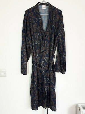 Vintage Retro Polyester Blue Paisley Belted Dressing Gown Robe Jacket L (3)