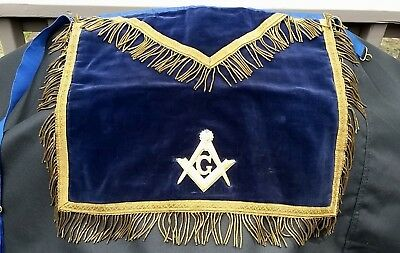 Stunning ORNATE Vintage MASONIC APRON Dark Blue Velvet Freemasonry