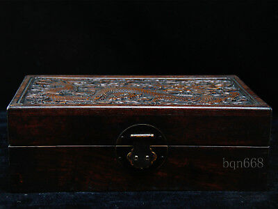 old china antique handcarved Huanghuali Wood dragon box & lock