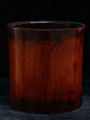 """7"""" old china antique huge Huanghuali Wood Pen container brush pot"""