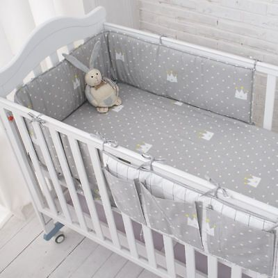 Baby Safe Sleeping Bed Bumpers Soft Cot Hanging Storage Grey Crown Bedding Set