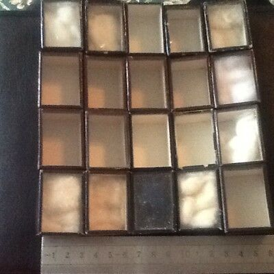 20 antique glass top boxes. 3 X 4 x 3cm (approximate size as handmade)