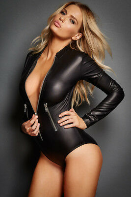 Black Leathery Long Sleeve Zip Detail Bodysuit_Sexy, Erotic, Clothes