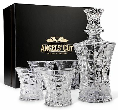 Regal Whiskey Decanter Set with 4 Scotch Glasses by Angels' Cut. Hand Crafted