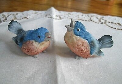 Vintage Blue Bird Figurines Ceramic An Set Of 2