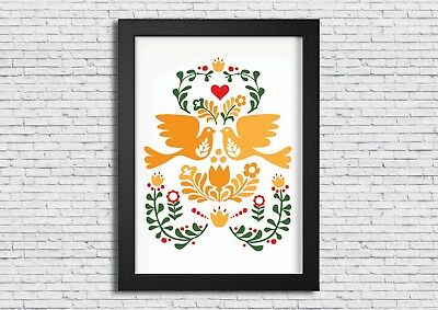 Nordic folk art print wall art picture poster