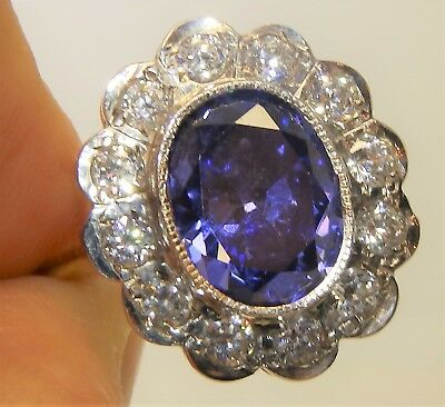 Art Deco Style 9Ct Gold On Solid Silver Tanzanite Diamond Kate Cluster Ring  Q