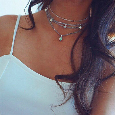 Fashion Multilayer Choker Necklace Charm Crystal Star Chain Silver Women Jewelry