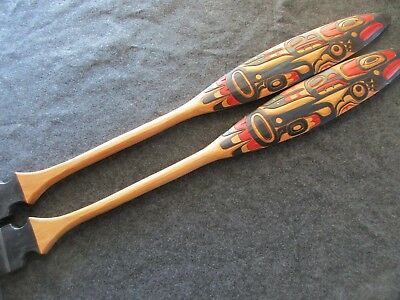 """Northwest Coast Ceremonial """"eagle"""" Paddle, Hand Carved & Painted Oar Wy-02448"""