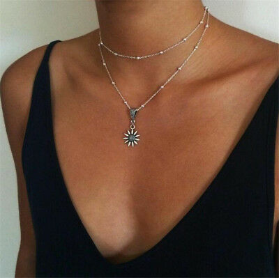 Fashion Women Multilayer Choker Pendant Collar Sunflower Chain Necklace Jewelry